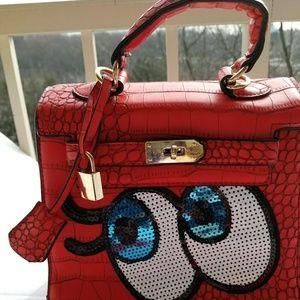 Flirty Eyes Sequin Red Mini Bag